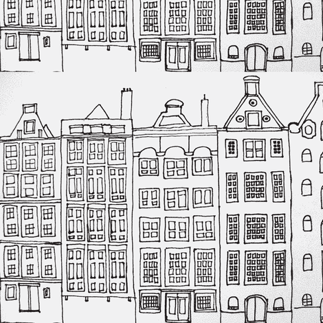 DutchHouses black on white fabric by blue_jacaranda on Spoonflower - custom fabric