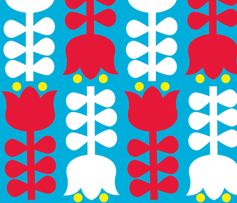 retro folk flower fabric by kperrien on Spoonflower - custom fabric