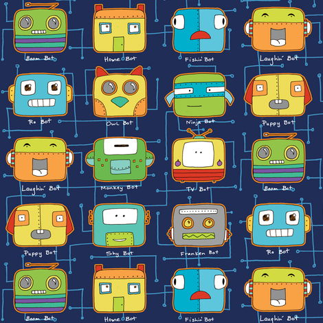 Bitty Bots fabric by pattysloniger on Spoonflower - custom fabric