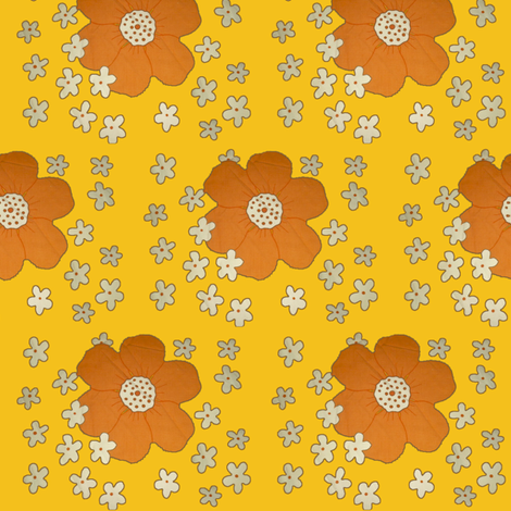 yellow_retro_flowers fabric by snork on Spoonflower - custom fabric