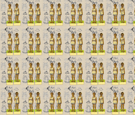 Vintage Paper Dolls-Afrocentric-217 fabric by kkitwana on Spoonflower - custom fabric