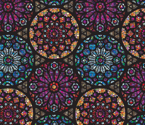 Stained glass rose windows fabric sammyk spoonflower for Rose window design