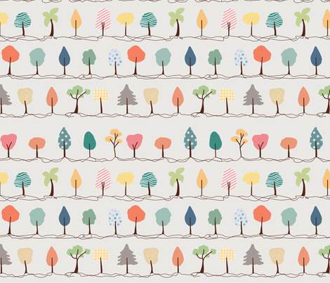 Happy little trees fabric by many-worlds on Spoonflower - custom fabric