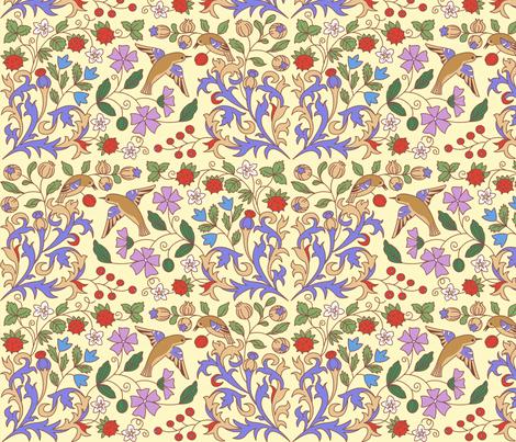 Medieval Calendar Inspiration Yellow fabric by nikishor on Spoonflower - custom fabric
