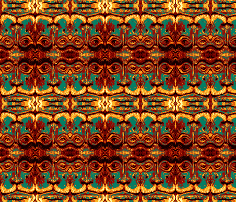 Tiki Man Teal fabric by emeraldile on Spoonflower - custom fabric