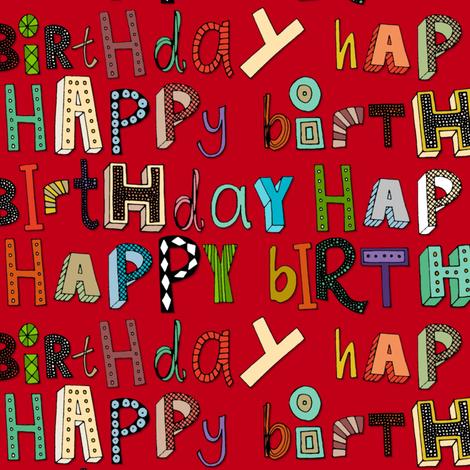 happy birthday red fabric by scrummy on Spoonflower - custom fabric