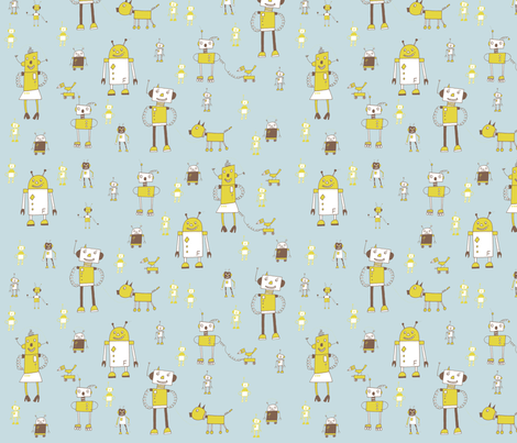 robots on blue fabric by susalabim on Spoonflower - custom fabric