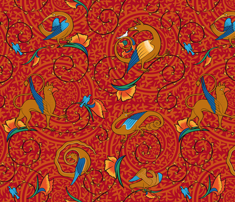 medieval_bestiary_red fabric by jorz on Spoonflower - custom fabric