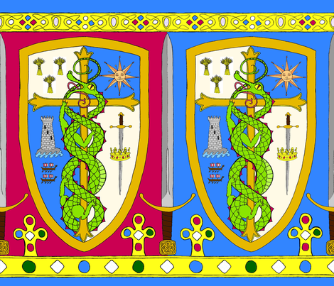 A_medieval_heraldic_border_bicolored_copy fabric by victorialasher on Spoonflower - custom fabric