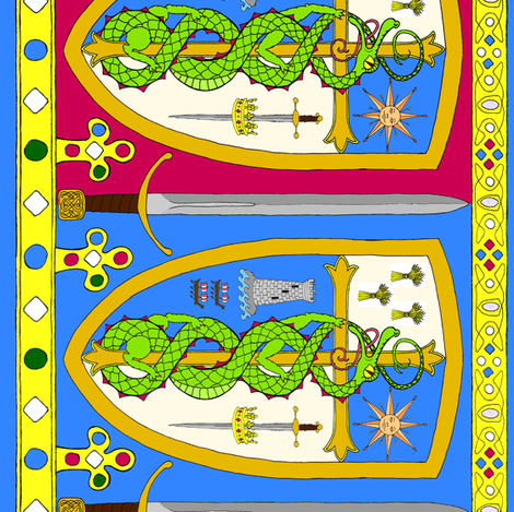 a_medieval_border_bicolored_2rotated fabric by victorialasher on Spoonflower - custom fabric