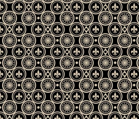 Black Henricus fabric by poetryqn on Spoonflower - custom fabric