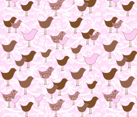 Bye Bye Birdie Pink fabric by creationsbycrissy on Spoonflower - custom fabric