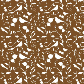 Swirly Bird Small Print Brown