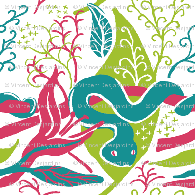Tropical snakes green and pink