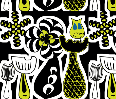 Lady Owl fabric by sbd on Spoonflower - custom fabric