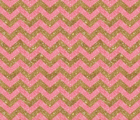 Glitter Chevron Pink and Gold fabric by cynthiafrenette on Spoonflower - custom fabric