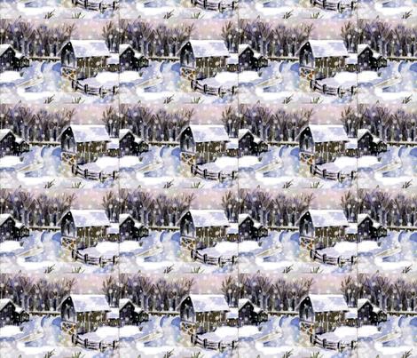 A snowy, snowy night fabric by karenharveycox on Spoonflower - custom fabric
