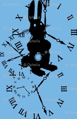 Rabbit Late (black on blue)