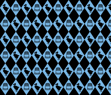 Alice Dodo & Thimble Pattern (blue and black) fabric by ophelia on Spoonflower - custom fabric