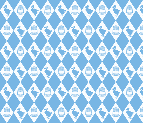 Alice Dodo & Thimble Pattern (blue and white) fabric by ophelia on Spoonflower - custom fabric