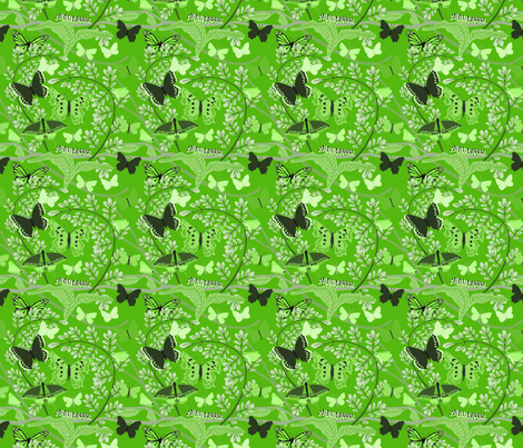 Butterfly_Pattern_green fabric by vinpauld on Spoonflower - custom fabric