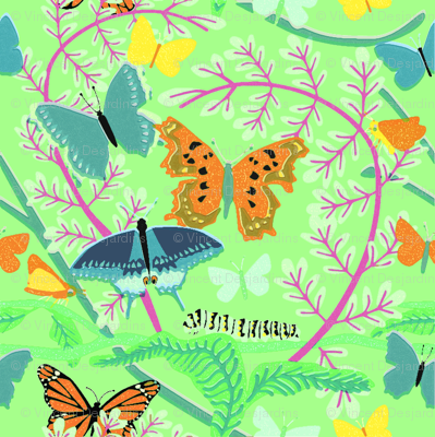 Butterflies on Bright Green