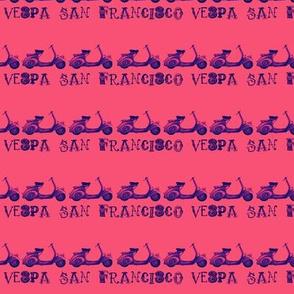 Vespa San Francisco Print Pink/Blue