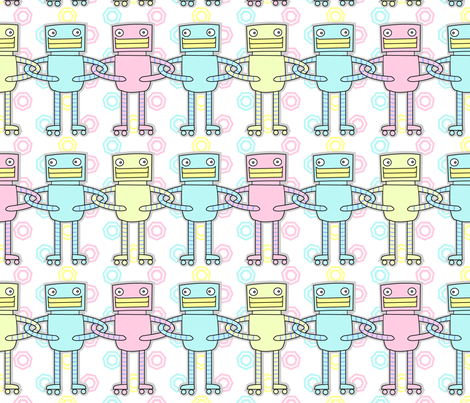 United Robots (large) fabric by zoel on Spoonflower - custom fabric