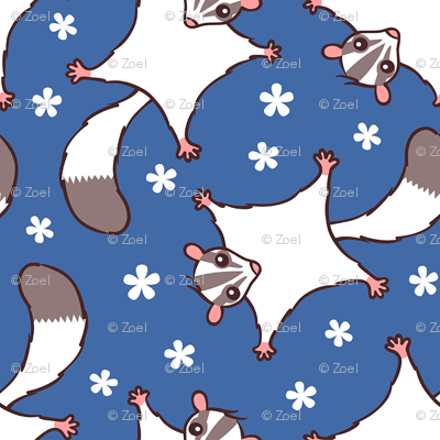 Sweet Sugar Glider with Flowers - Dark Blue