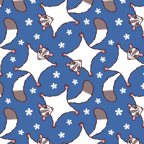 Sweet Sugar Glider with Flowers - Dark Blue fabric by zoel on Spoonflower - custom fabric
