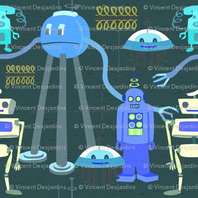 Retro Robots Blue Gray 3