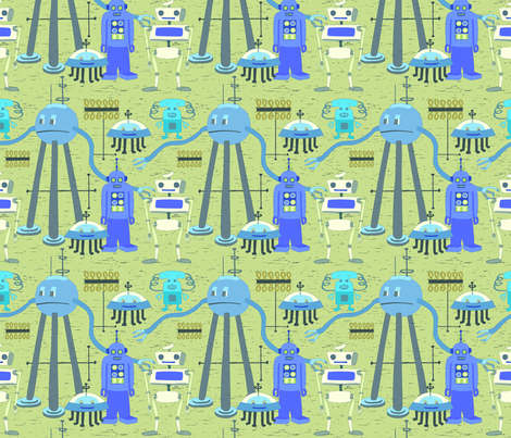 Retro Blue Robots Bright Colors fabric by vinpauld on Spoonflower - custom fabric