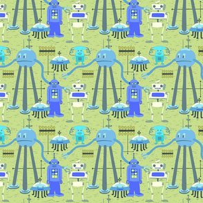 Retro Blue Robots Bright Colors