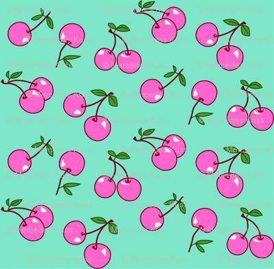 Cherries pink x mint
