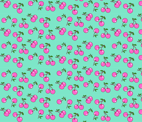 Cherries pink x mint fabric by mezzo on Spoonflower - custom fabric