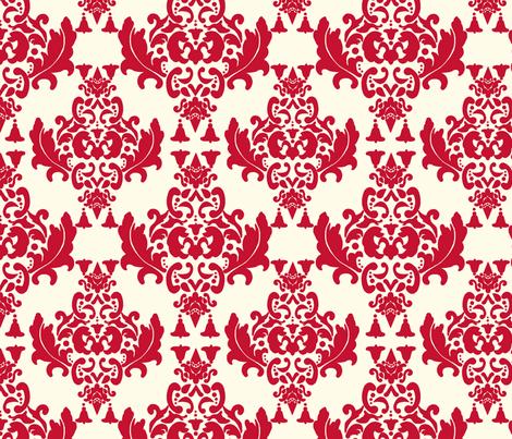 Cherry Cream Damask fabric by mayabella on Spoonflower - custom fabric