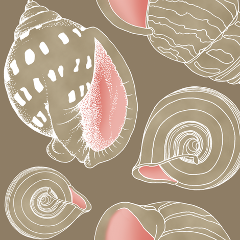 Sketchy Seashells - Blushing Taupe fabric by pattysloniger on Spoonflower - custom fabric
