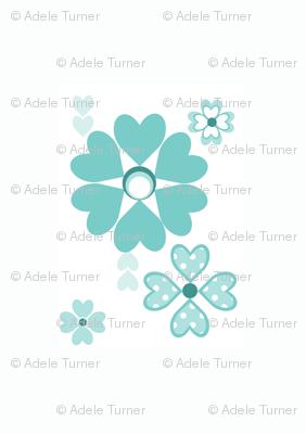 Retro Floral in aquamarine