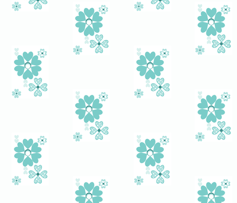 Retro Floral in aquamarine fabric by delsie on Spoonflower - custom fabric