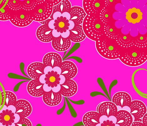 fleur de bohème pink fabric by nadja_petremand on Spoonflower - custom fabric