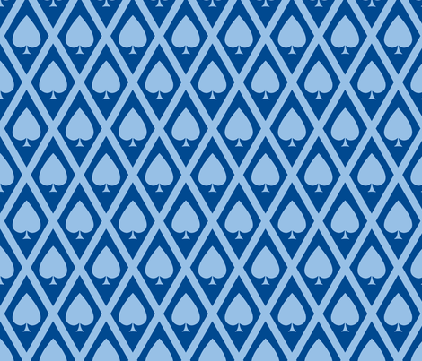 Umbria's Spades in Blue fabric by siya on Spoonflower - custom fabric