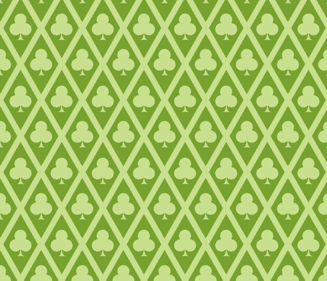 Clover's Clubs in Green fabric by siya on Spoonflower - custom fabric