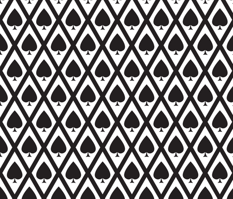 Umbria's Spades in Black and White fabric by siya on Spoonflower - custom fabric