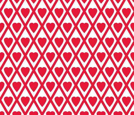 Valentina's Hearts in Red and White fabric by siya on Spoonflower - custom fabric