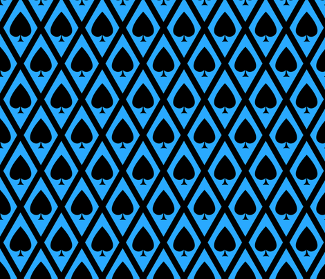 Umbria's Spades in Black and Blue fabric by siya on Spoonflower - custom fabric
