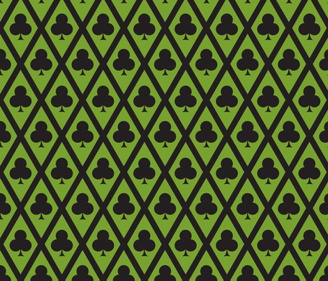 Clover's Clubs in Black and Green fabric by siya on Spoonflower - custom fabric