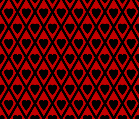 Valentina's Hearts in Black and Red fabric by siya on Spoonflower - custom fabric