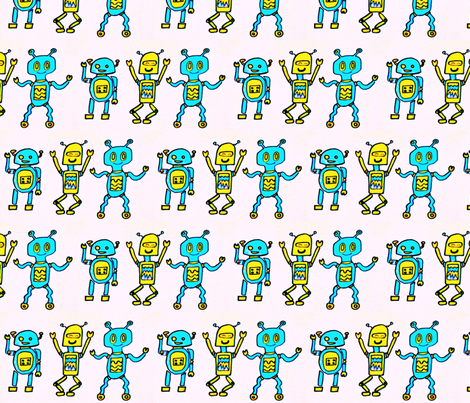 dancing robots fabric by pussefusse on Spoonflower - custom fabric