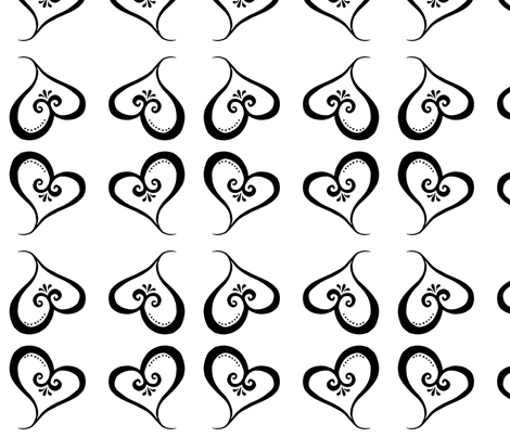 Black Heart - Little fabric by designergal on Spoonflower - custom fabric