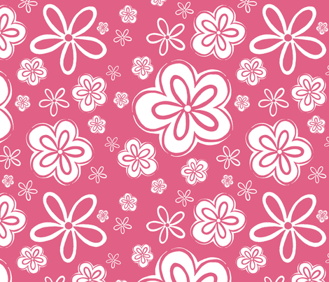 Oopsy Daisy - rose inverse fabric by designergal on Spoonflower - custom fabric